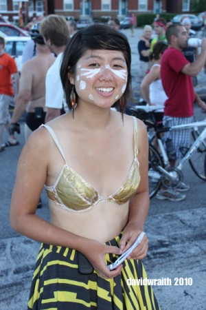 """As bare as she dares."" WNBR STL organizer, Stephanie Co at the 2010 ride."