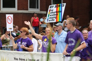 PFLAG (Parents and Friends of Lesbians and Gays) marching in the St. Louis Pride Parade in 2010.