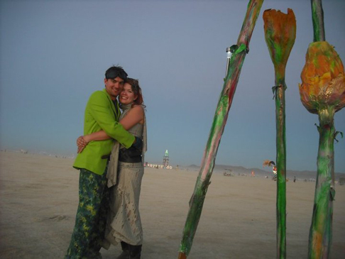 Stacey and Zay at Burning Man in the Nevada desert.
