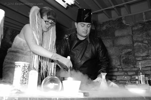 """Deech of Arch Reactor, causing """"reactions"""" with dry ice at last year's Fire & Ice. Photo by Stephen Venters."""